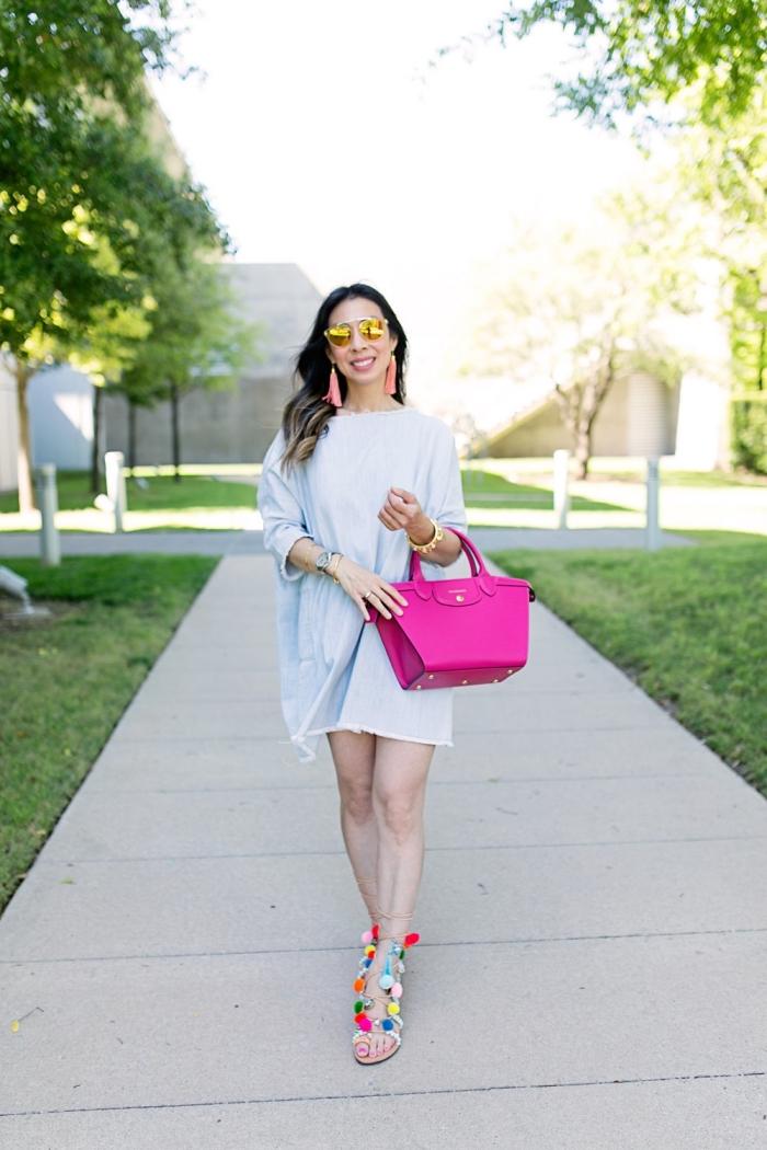 modèle de sandales femme 2019 avec lacets et pompons, idée comment bien s'habiller, accessoires mode femme tendance 2019