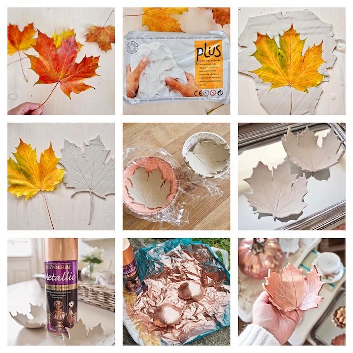 idée coupelle feuille automne diy, que faire avec de la pate fimo, coupelle motif feuille customisée de peinture cuivre