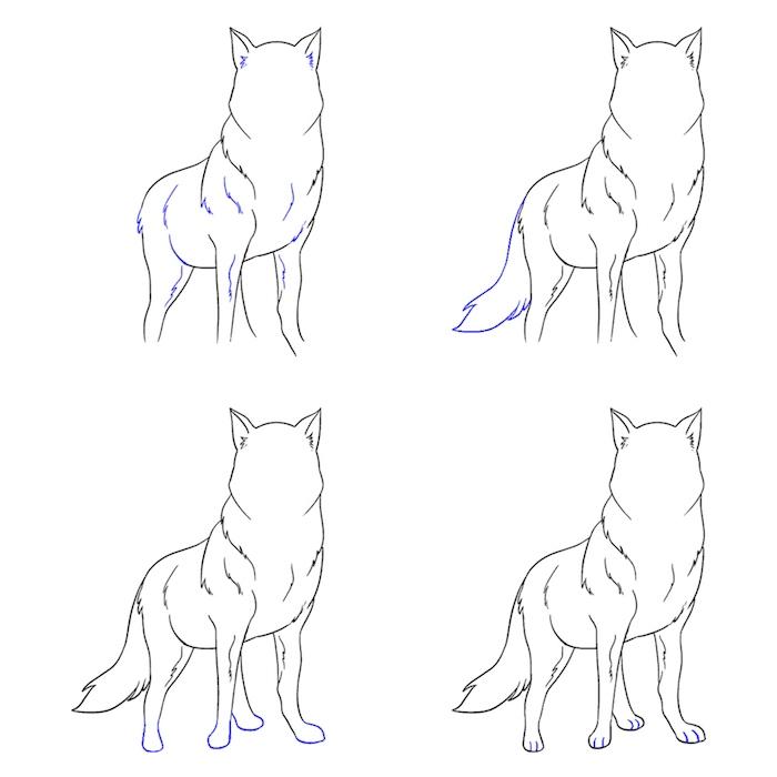 tuto simple comment dessiner un loup soi meme, dessin animal graphique au crayon faicle a faire