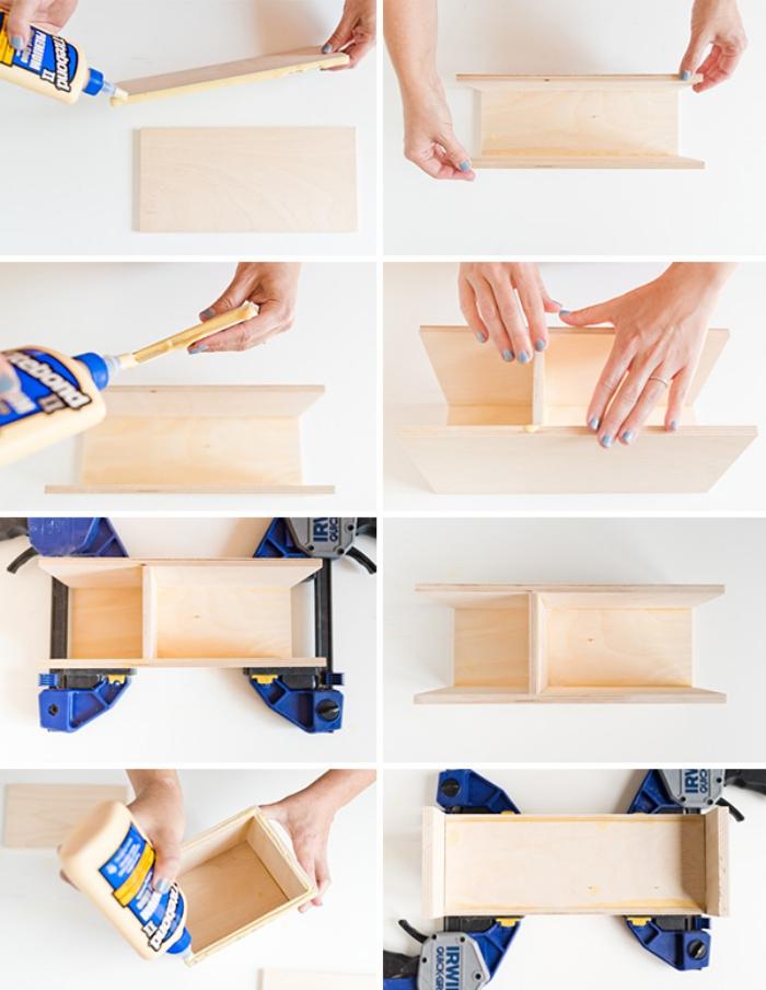 comment assembler planches bois avec colle à bois, idée construction organiseur crayons et papier à faire soi même, objet de décoration bureau