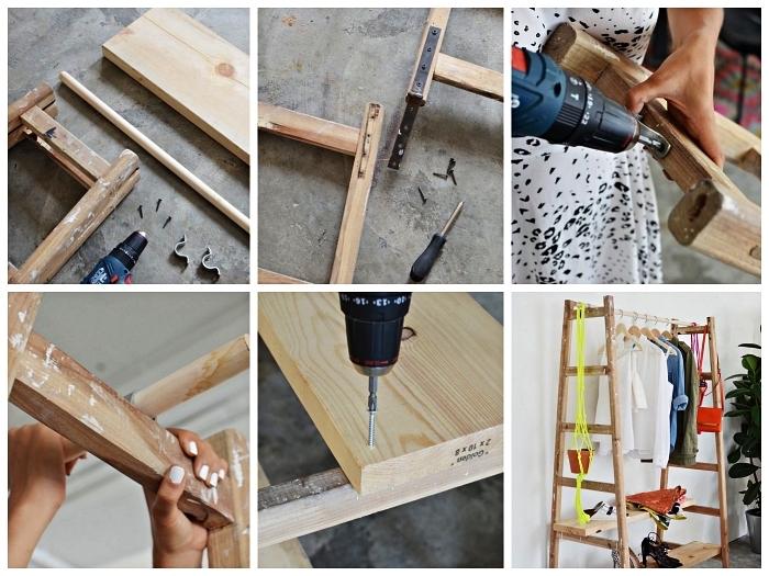 tutoriel pour créer un dressing avec une échelle en bois récup et des planches en bois, vieille échelle bois détournée en portant à vêtement avec étagères pour chaussures et accessoires