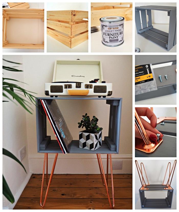 tuto pour fabriquer une table d'appoint avec une cagette bois ikea et des pieds en épingles à cheveux en cuivre