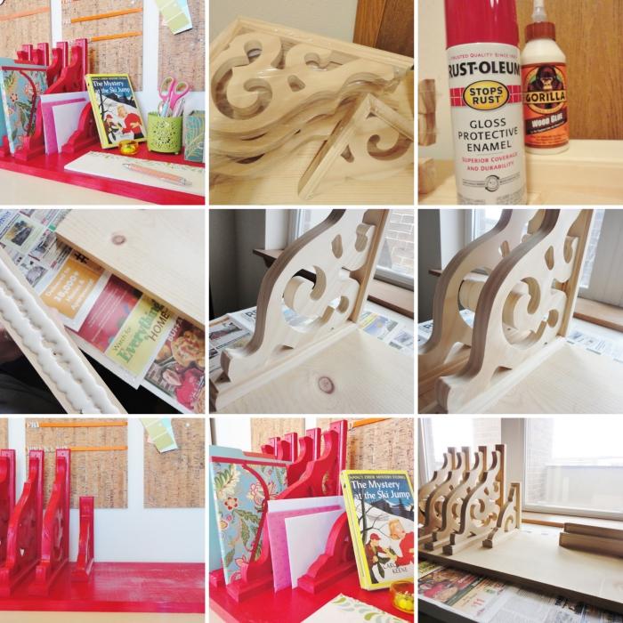 pas à pas pour fabriquer un rangement bureau original en bois peint en rouge, modèle rangement accessoires bureau
