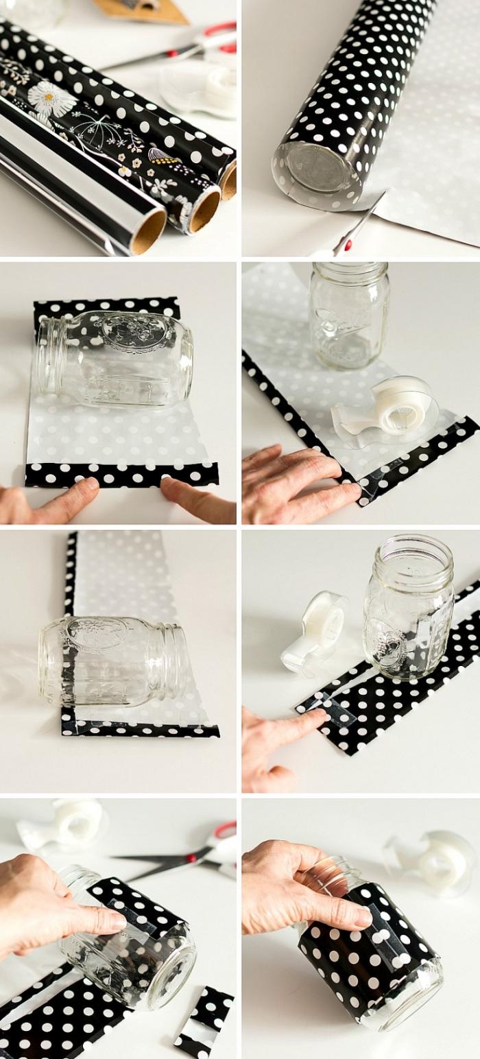 pas à pas création objet de déco bureau original, exemple comment décorer un jar en verre, diy accessoire crayon