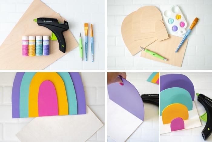 pas à pas création accessoire papier pour bureau, comment faire un classeur papier en feuilles bois et peinture