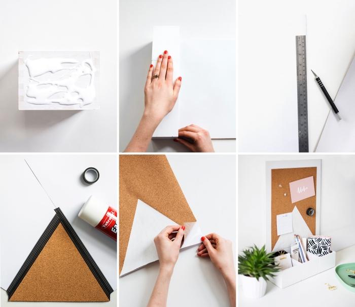 exemple d'etagere a poser sur bureau, activité manuelle facile, création objet de rangement bureau en bois blanc