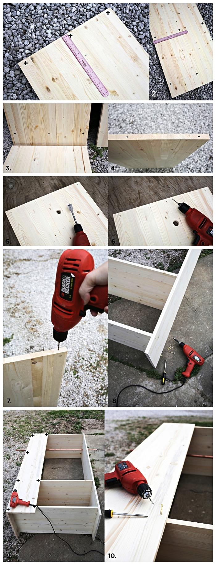 tutoriel pour fabriquer un meuble caisson dressing en bois de pin façon armoire ouverte avec penderie et deux étagères