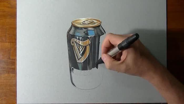Bière illusion d optique dessin, inspiration dessin 3d, can de guinnes bière coloré dessin