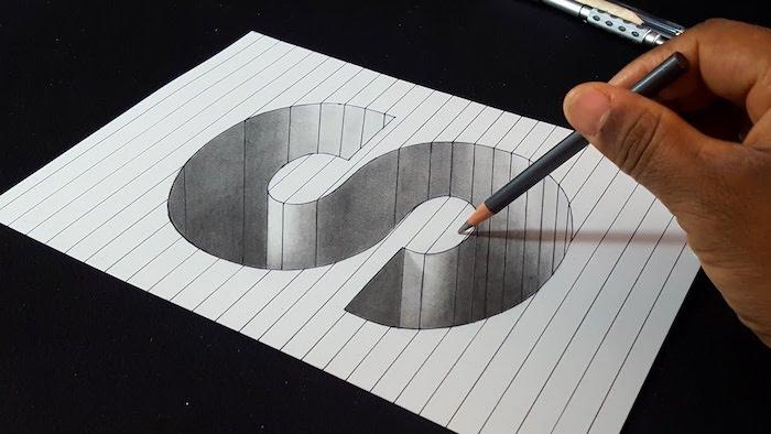 Dessin de S sur les lignes dessinées en perspective, apprendre a dessiner un visage, inspiration dessin 3d