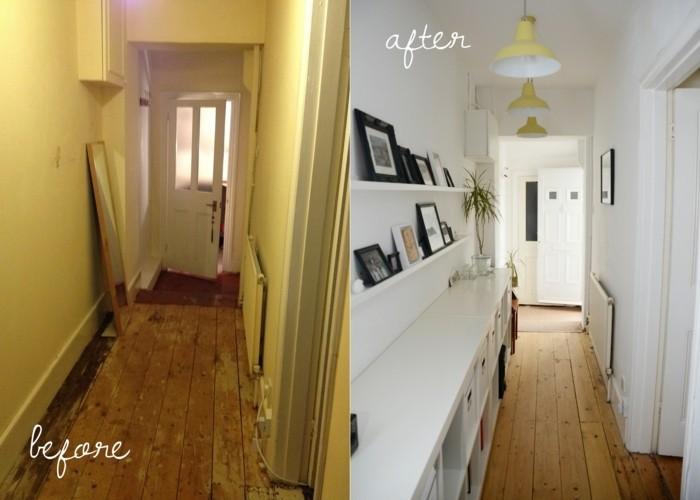 photo avant apres comment transformer un couloir, couleur pour un couloir étroit, tapis de couloir oriental étroit