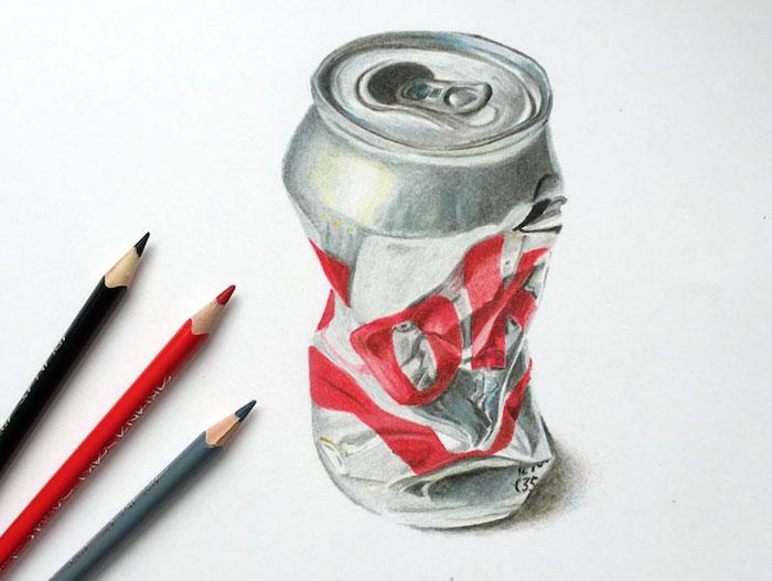 Can coca cola dessin, inspiration dessin 3d realiste dessins, coloré dessin en perspective