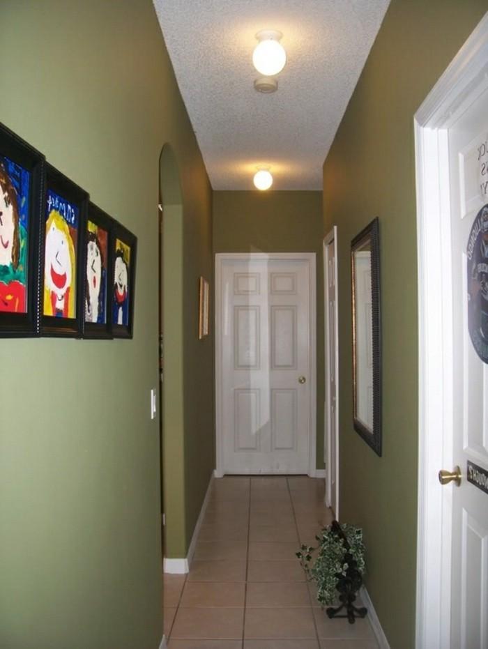 Vert mur idée déco petit couloir, peinture decorative photo, peintures des enfants