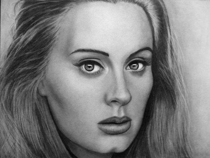 Adele realiste dessin facile a reproduire par etape, visage de femme dessin noir et blanc