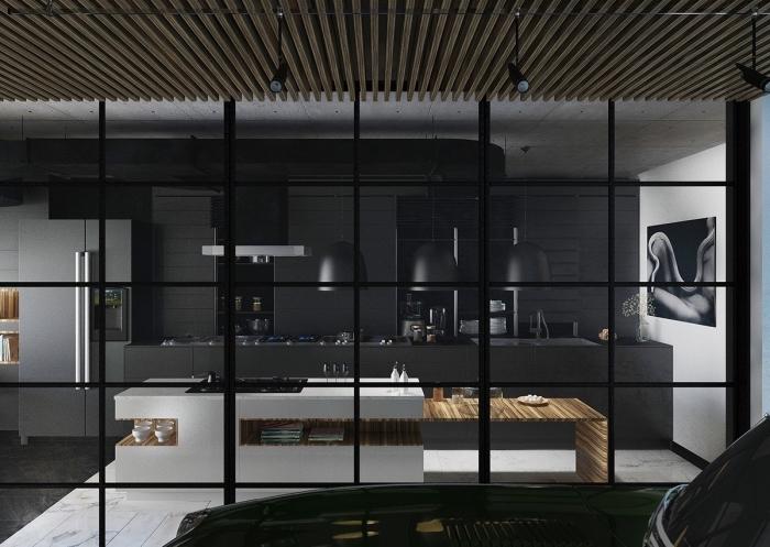 décoration de cuisine noir mat et bois, agencement cuisine linéaire avec crédence et meubles haut en noir mate, déco cuisine noire avec îlot blanc et bois