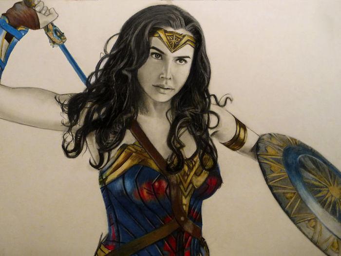 Woner woman portrait dessin coloré, yeux dessin, simple idée dessin facile de femme magnifique