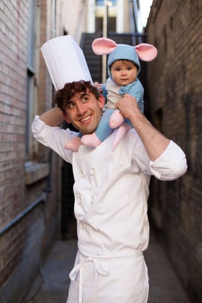 Ratatouille déguisement halloween pour bébé et son père, deguisement enfant Remi et Luigi Linguini du dessin animé Ratatouille