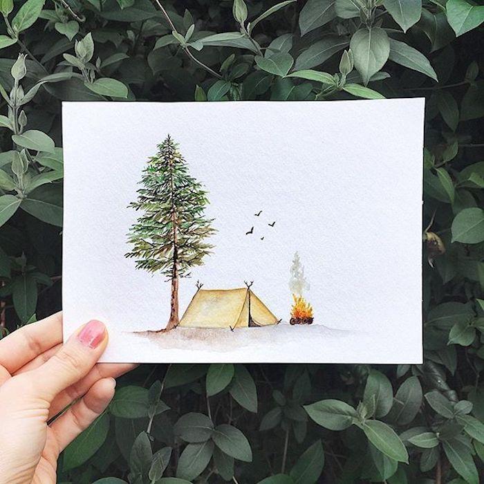 Dessin simple arbre vert et tente, feu dans la foret, idée de dessin automne-hiver, beauté de la nature