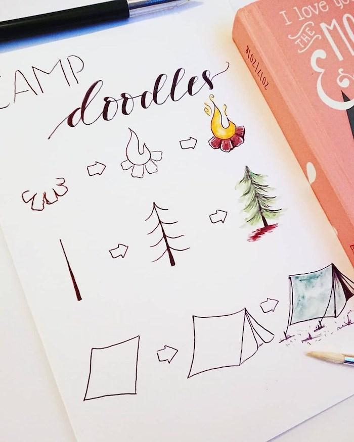 Comment faire les différentes parties d'un dessin d'automne, image journal automnal, idée dessin camping