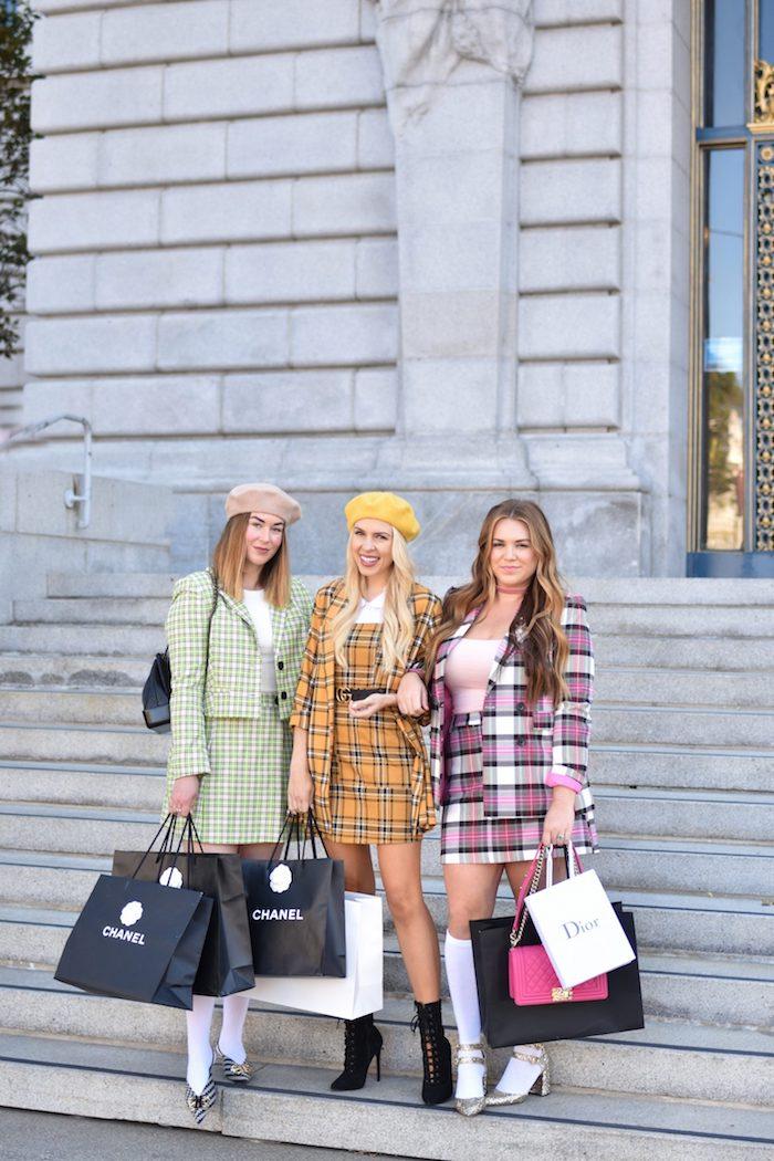 Clueless amies tenue femme tailleur carrée, deguisement triple, idée comment s'habiller pour une soirée thématique