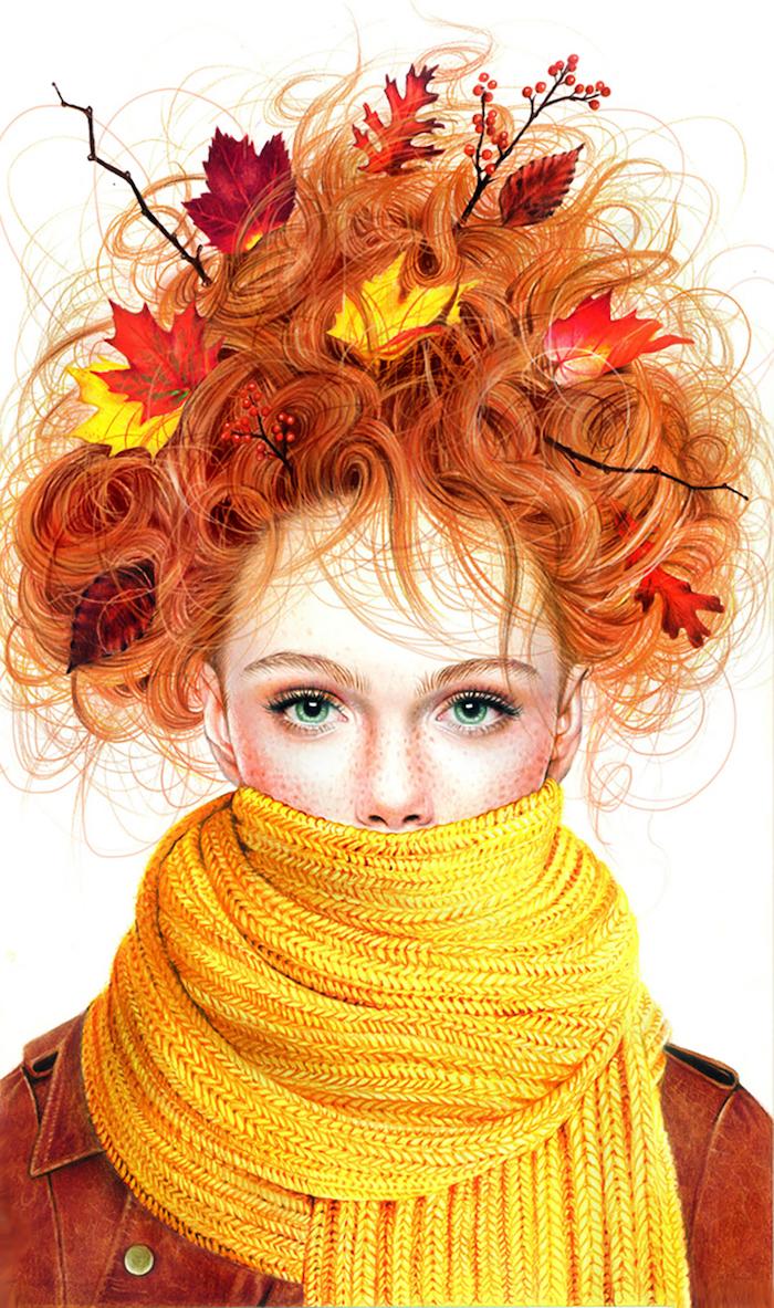 Fille roux incarnation de l'automne, écharpe jaune cosy, dessin automne fille magnifique, coloriage automne, image automnale