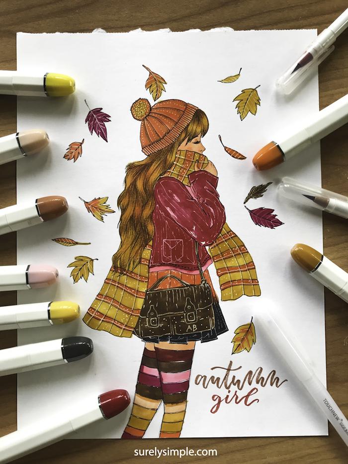 Dessin de fille qui se promene en automne avec feuilles tombant, tenue fille automne dessin, chouette idée de dessin d'automne