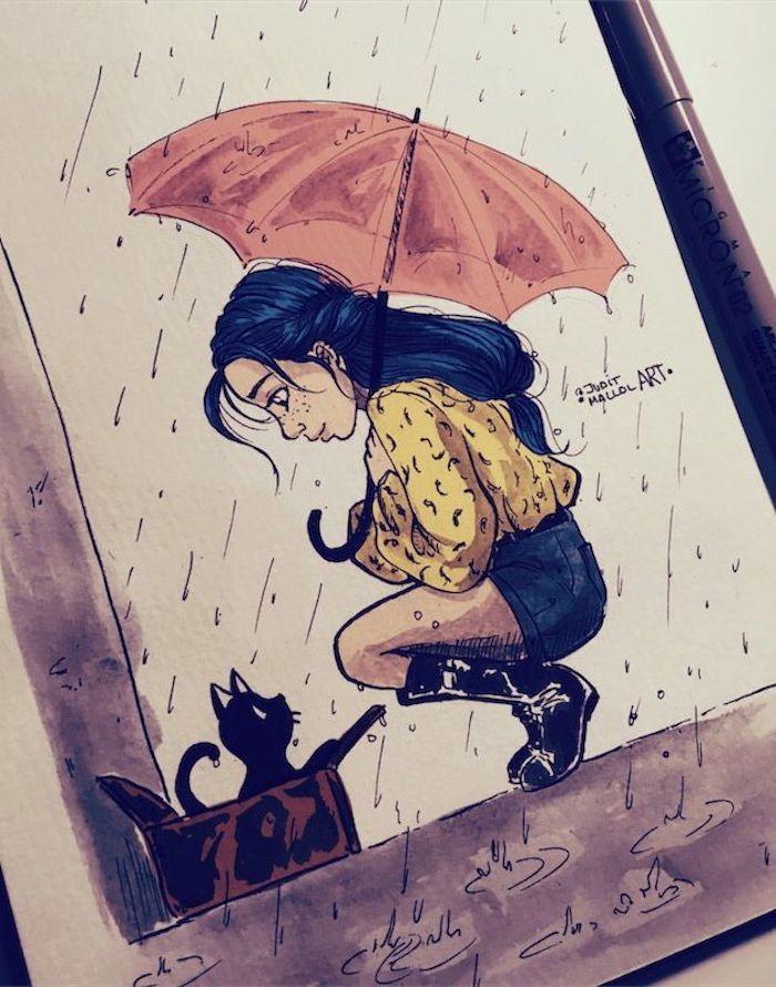Beau dessin de fille et chaton sous la pluie, coloriage d'animaux, dessin d'automne, beauté nature