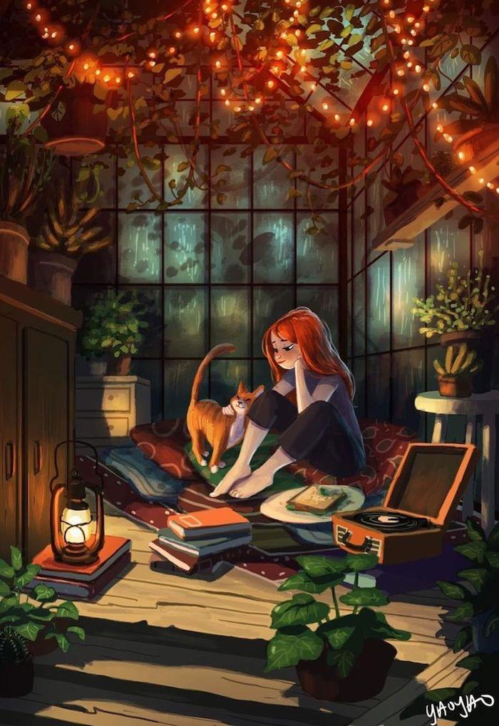 Guirlande lumineuse dessin chambre cosy, idée coloré dessin de fille et son chat, dessin d'automne, image paysage