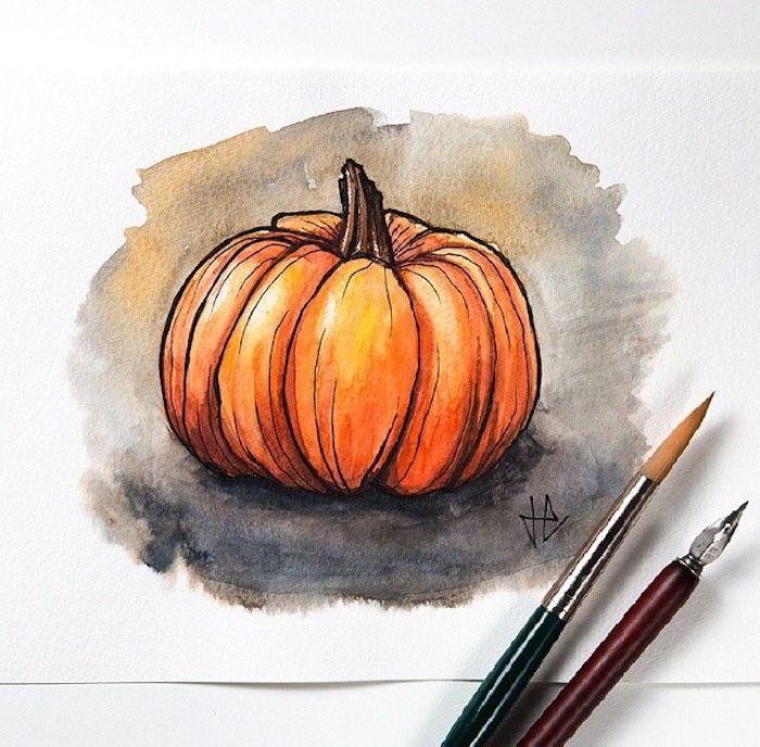 Citrouille peinture aquarelle, idée coloriage automne, faire un dessin d'automne joli, la citrouille orange dessin
