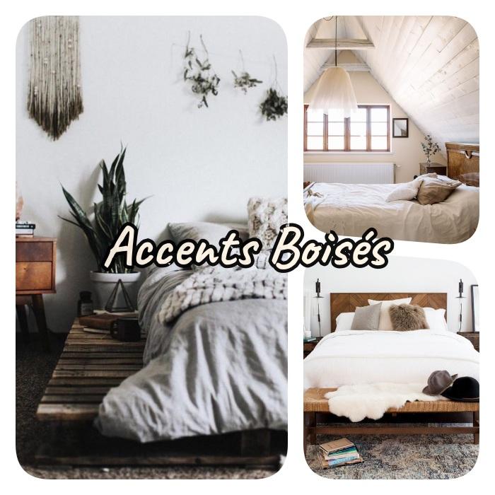 accents boisés pour decorer une chambre cosy, fabriquer un lit en palette de bois, tete de li en bois recyclé et murs de bois