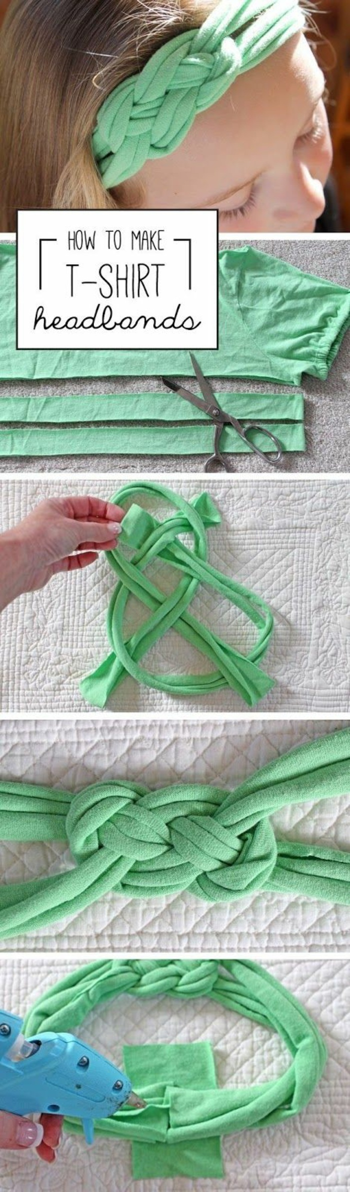 comment faire un accessoire mode soi-même, tutoriel fabrication bandana en morceaux de t-shirt avec noeuds macramé