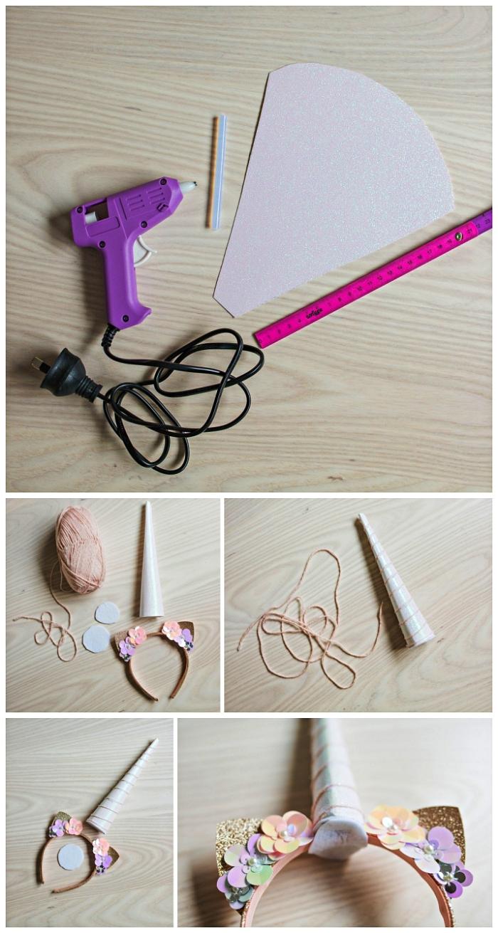 apprendre à réaliser un bandeau serre-tête licorne décoré de fleurs en papier pour compléter son déguisement licorne
