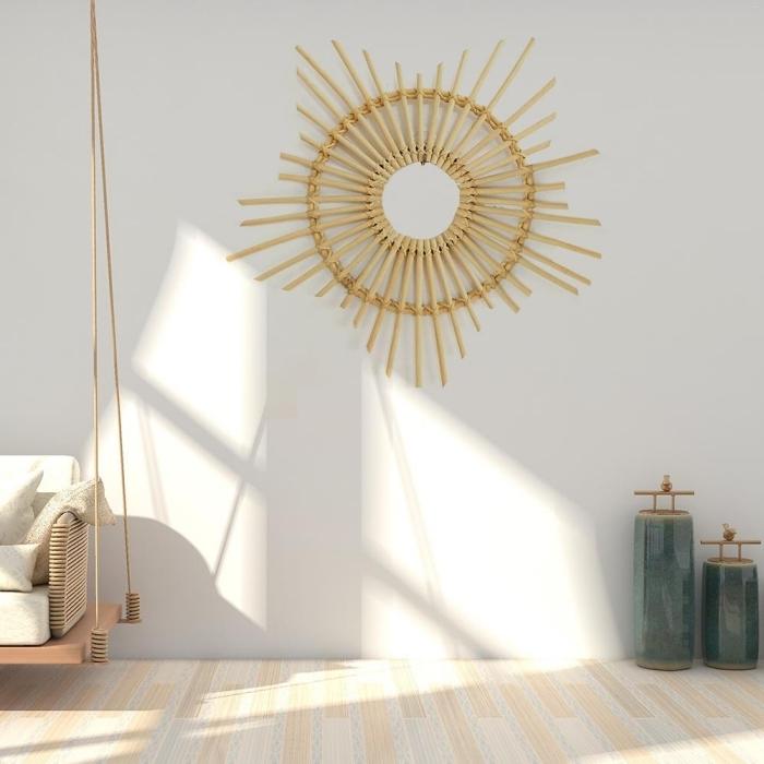 comment décorer sa chambre minimaliste, design intérieur tendance déco 2019, modèle de miroir bambou en forme soleil
