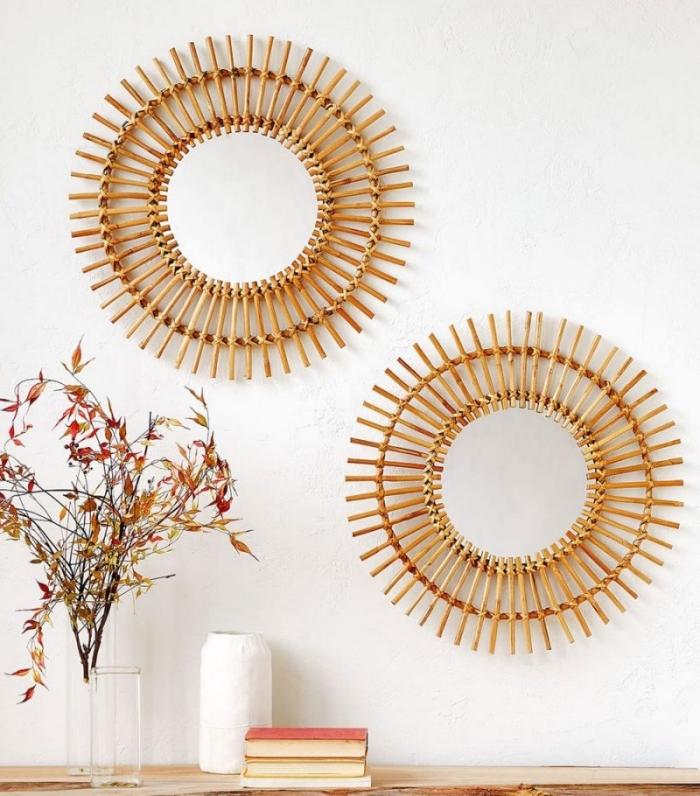 idée décor salon minimaliste et style bohème avec objets fait main, modèles de miroir osier à réaliser soi même