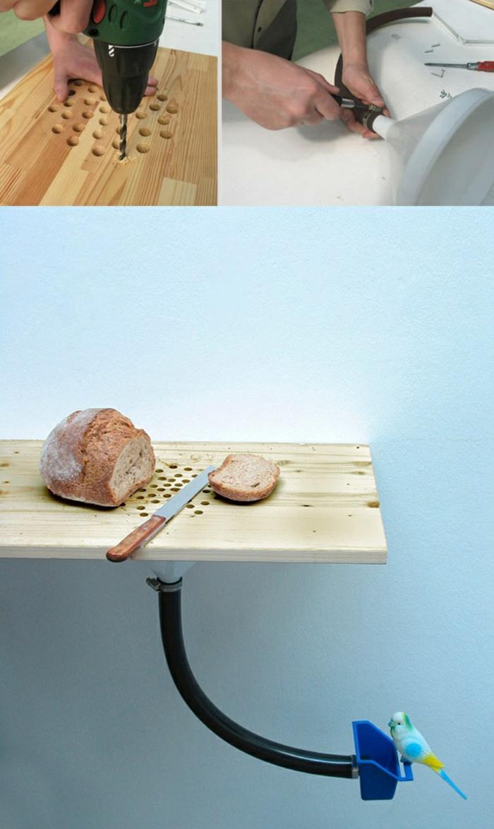 tutoriel bricolage avec bois, idée activité créative pour adultes, fabriquer un mangeoire oiseaux avec bois et plastique
