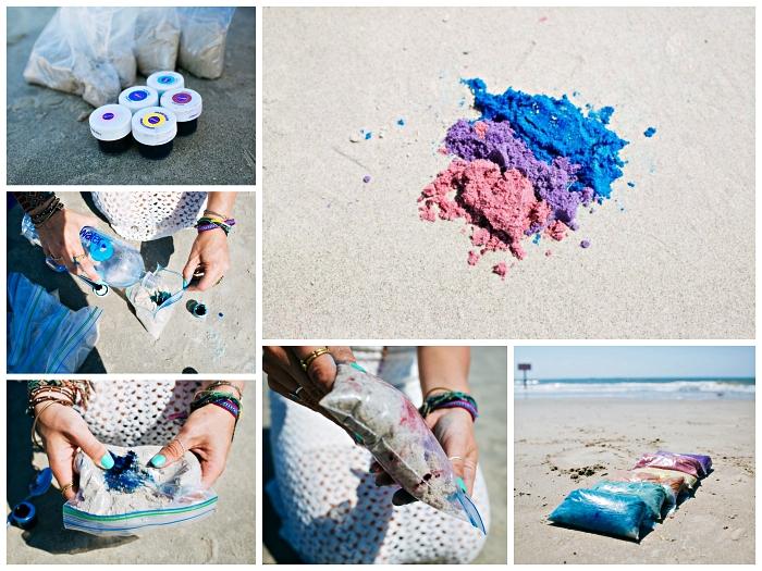 comment colorer du sable avec des colorants alimentaires, faire du sable décoratif maison pour réaliser de jolies décorations