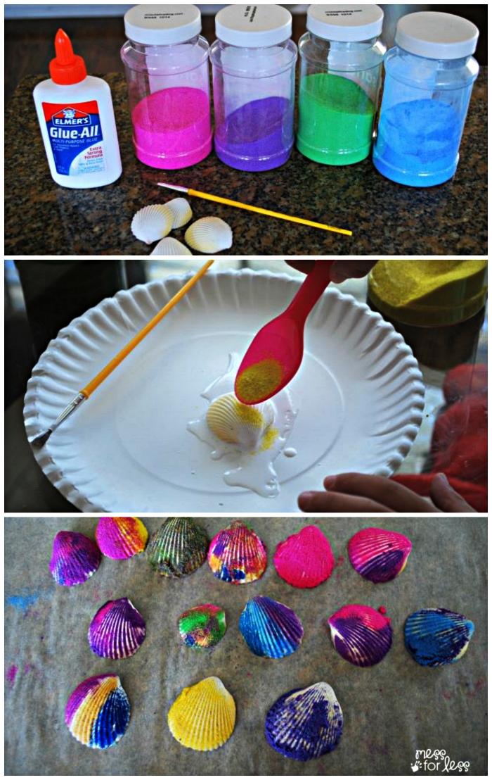 activités manuelle enfants sur le thème de l'été, tuto facile pour décorer des coquillage avec du sable et de la colle