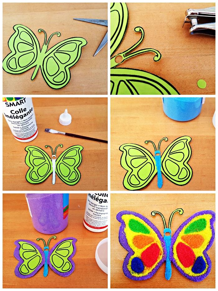 activité manuelle maternelle pour fabriquer un ornement de noël papillon décoré de sable de couleur