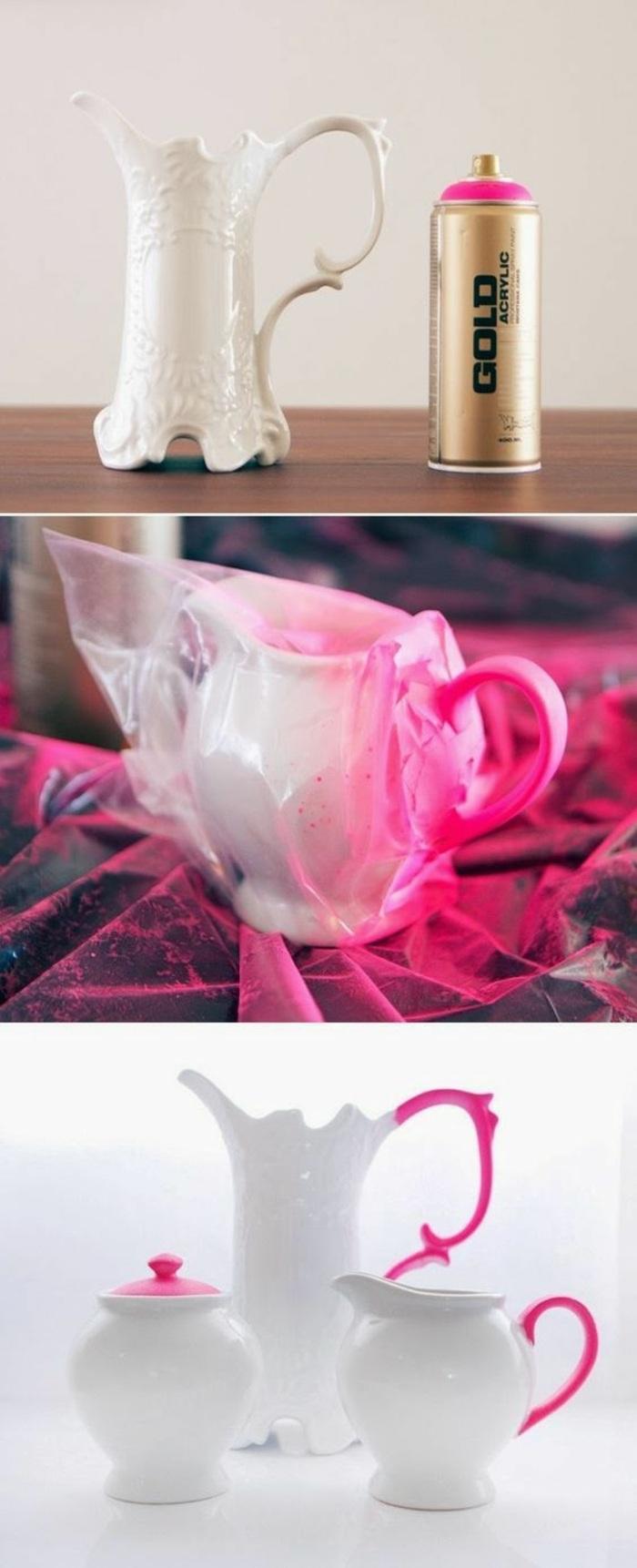 comment décorer service thé avec peinture, idée activité manuelle facile et rapide, service thé DIY bicolore blanc et rose