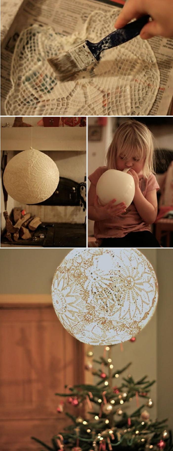 diy lampe suspendue à faire soi-même, idée bricolage recyclage facile, fabrication lampe avec colle et dentelle