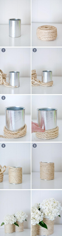 pas à pas fabrication pot fleur en corde, idée recyclage boîte de conserve, idée bricolage decoration facile et rapide