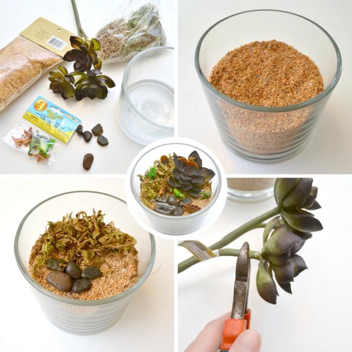 étapes à suivre pour réaliser un plante terrarium, remplissage de contenant en verre avec plantes artificielles et figurines