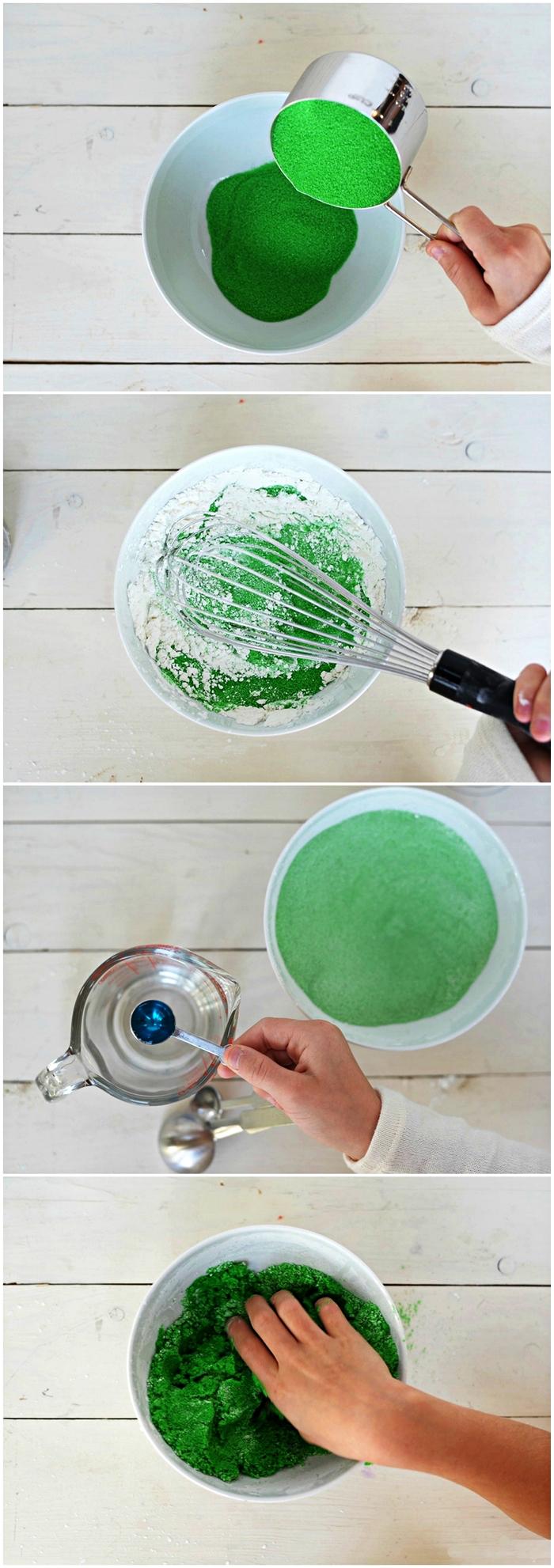 recette facile pour fabriquer du sable magique, sable cinétique fait-maison pour des activités sensorielles