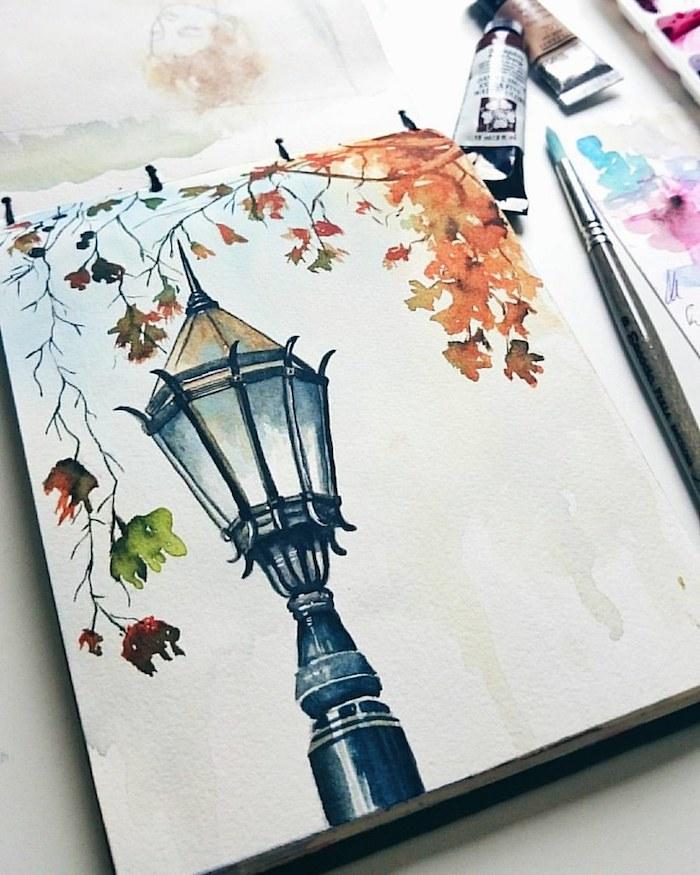 Beau dessin lampadaire classique, feuille d'automne dessin, beau dessin automne, branche d'arbre avec feuilles colorés en orange et rouge