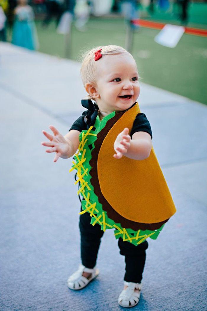 Bébé taco costume déguisement facile, cool camouflage à choisir pour fete masqué bébé fille déguisée comme taco