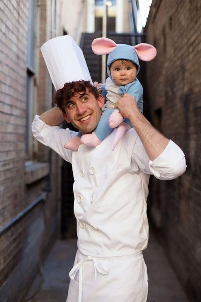 Ratatouille et le chef déguisement halloween fait maison, idée de déguisement drôle, père et bébé costume Remi et Linguini déguisement
