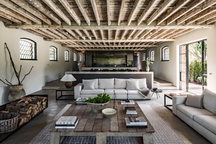 idée comment renover une maison, design intérieur style contemporain, déco cuisine en longueur industrielle