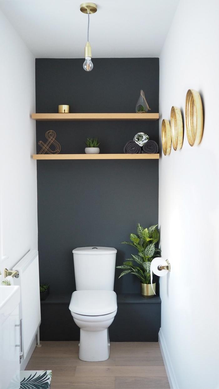 comment décorer petites toilettes, exemple de peinture toilette tendance moderne en gris anthracite finition mate