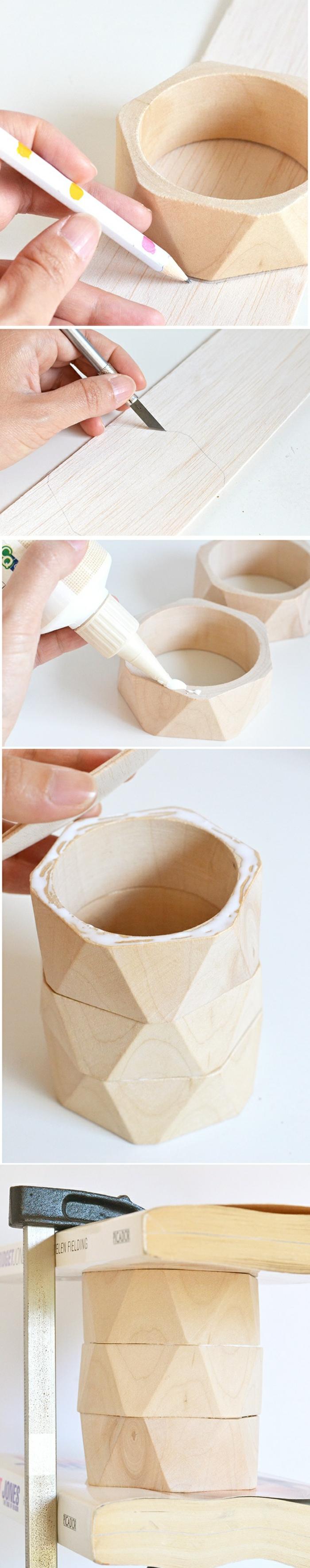 idée activité manuelle ado, tutoriel bricolage pot à crayon avec bracelets en bois, comment faire un pot à crayon