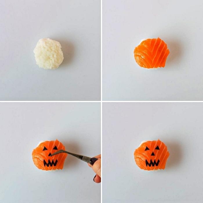 le pas à pas pour faire des sushis d'halloween au saumon façon citrouilles effrayantes, idée originale pour une recette halloween salée