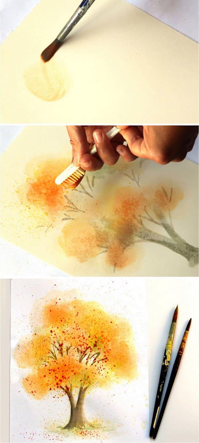 Comment dessiner un arbre d'automne à l'aquarelle, dessin arbre feuille oranges et rouges, dessin automne beauté